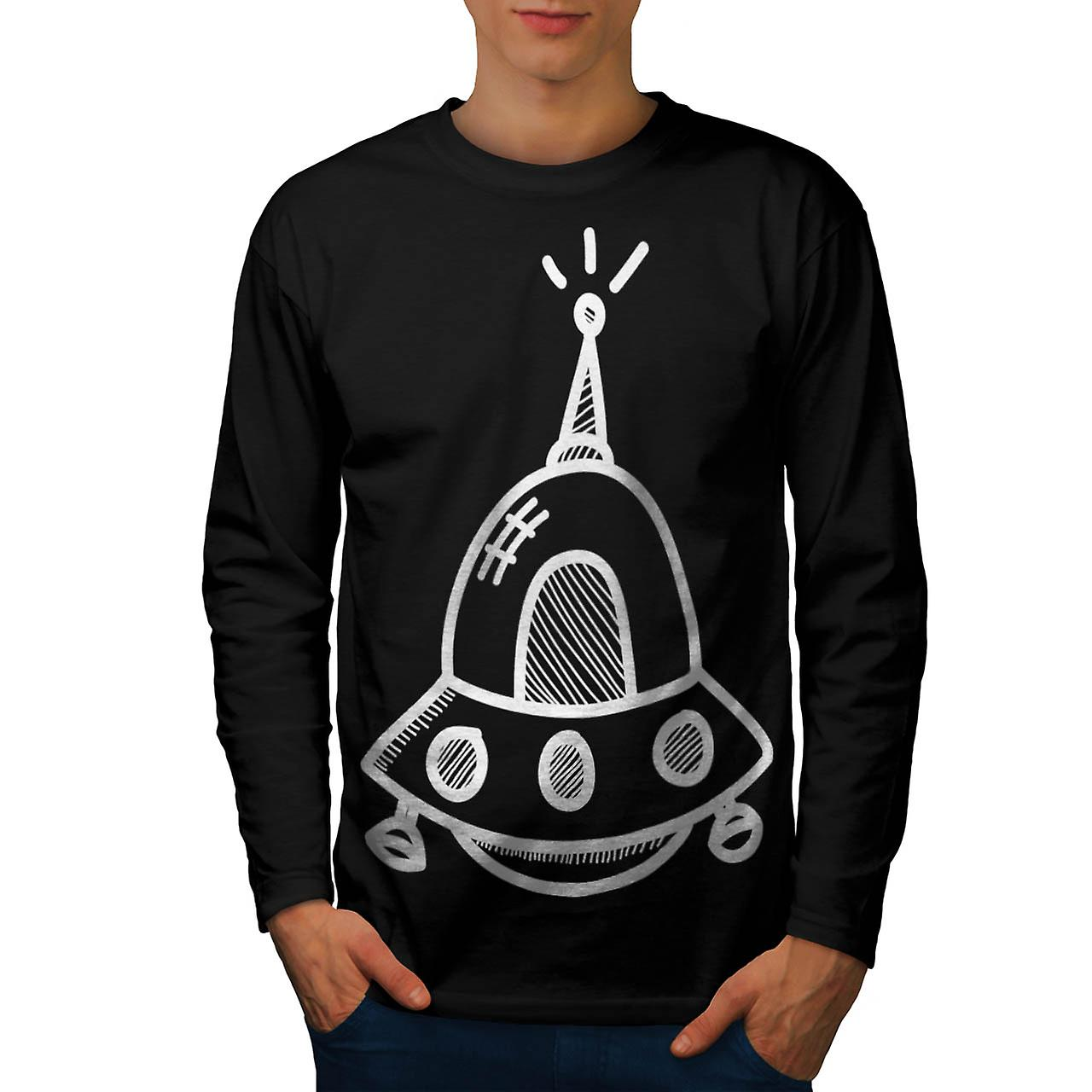 UFO Alien Spaceship Future Flight Men Black Long Sleeve T-shirt | Wellcoda
