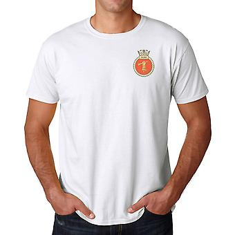 HMS Quorn Embroidered logo - Official Royal Navy Cotton T Shirt