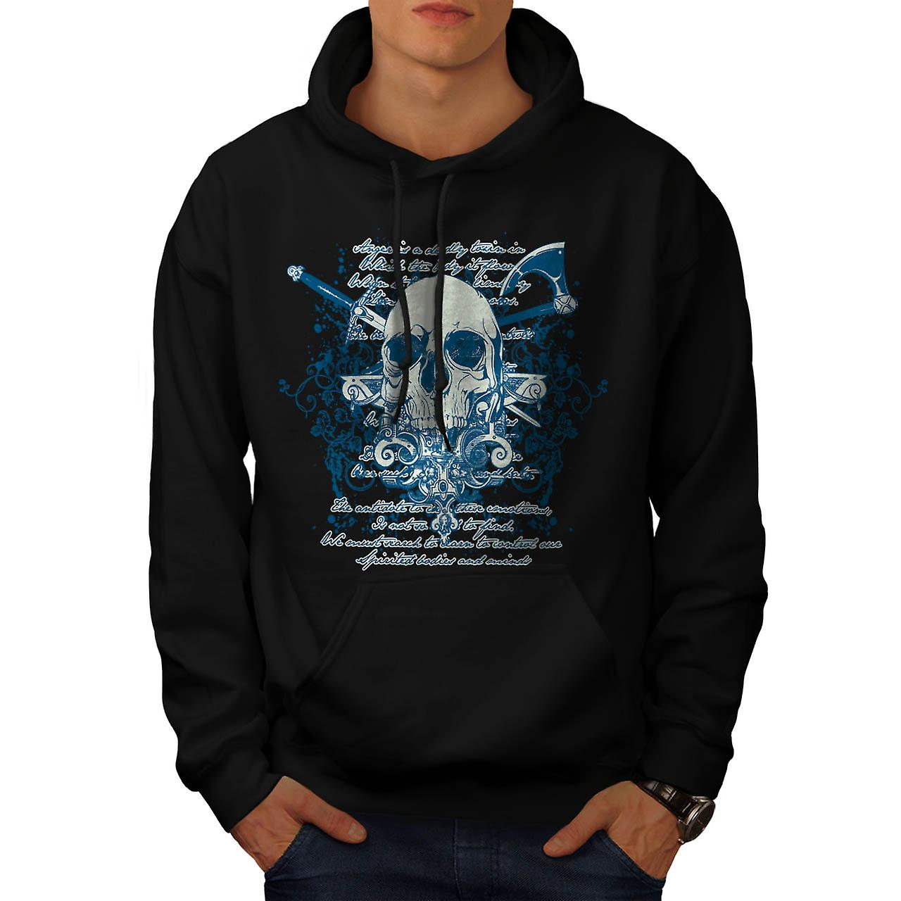 Death Skull Script Monster Death Men Black Hoodie | Wellcoda