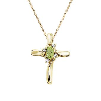 14K Yellow Gold Peridot and Diamond Cross Pendant with 18