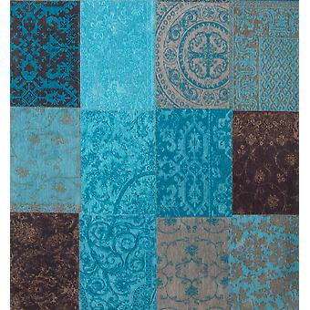 Square Turquoise Dining Room Patchwork Rug - Louis De Poortere