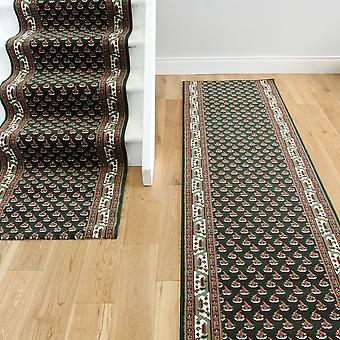 Dark Green Traditional Stair Carpet Lima