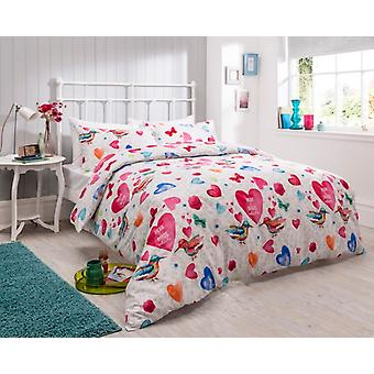 Birds Hearts Floral Modern Duvet Cover Bedding Set All Sizes