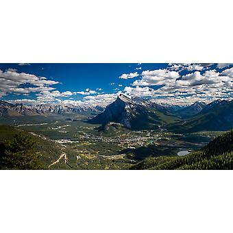 Aerial view of Banff town and Mount Rundle Banff National Park Alberta Canada Poster Print by Panoramic Images