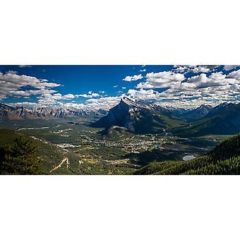 Птичьего полета город Банф и смонтировать Rundle Банф Национальный парк Альберта Канада плакат печати панорамных изображений