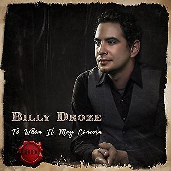 Billy Droze - til hvem det kan bekymring [CD] USA import