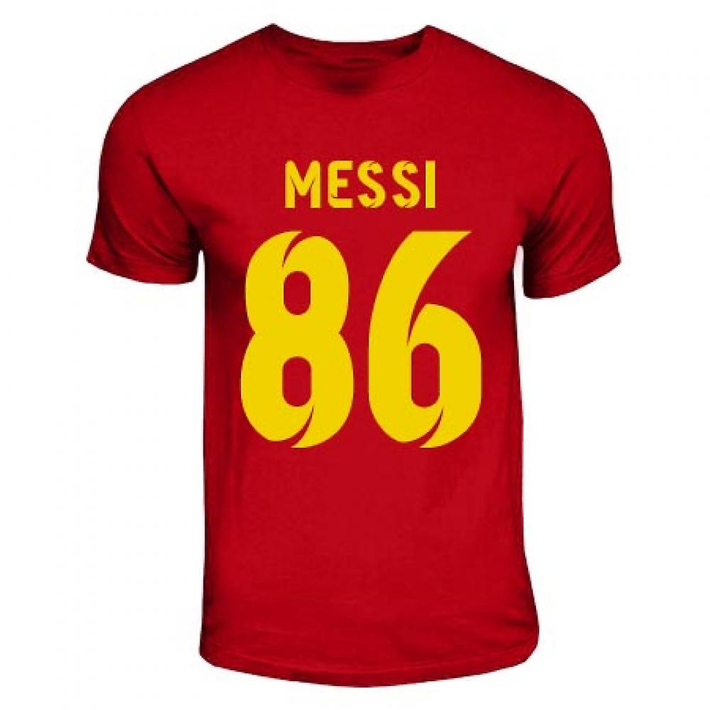 T-shirt Lionel Messi Support de record mondial (Rouge)