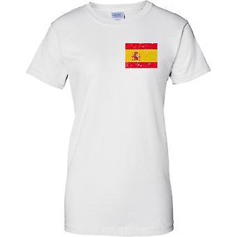 España lamentando Grunge efecto bandera diseño - diseño de pecho de las señoras camiseta