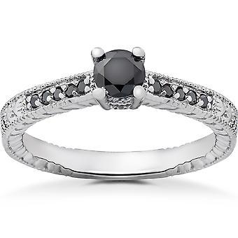1/2 ct Black Diamond Vintage Engagement Ring 14k White Gold