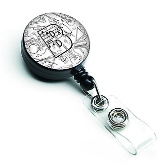 Letter B Musical Note Letters Retractable Badge Reel