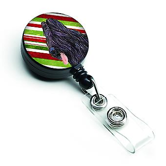 Briard Candy Cane Holiday Christmas Retractable Badge Reel