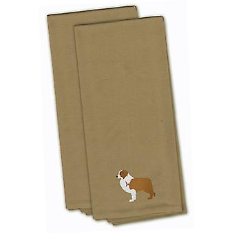 Red Border Collie Tan Embroidered Kitchen Towel Set of 2