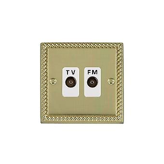 Hamilton Litestat Cheriton Georgian Polished Brass Isol TVFM Diplex 1in/2o WH