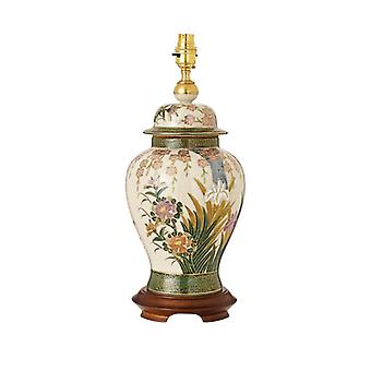Lily And Irises Hand Painted Table Lamp With Gold And Mahogany - Base Only - Interiors 1900 Rj428