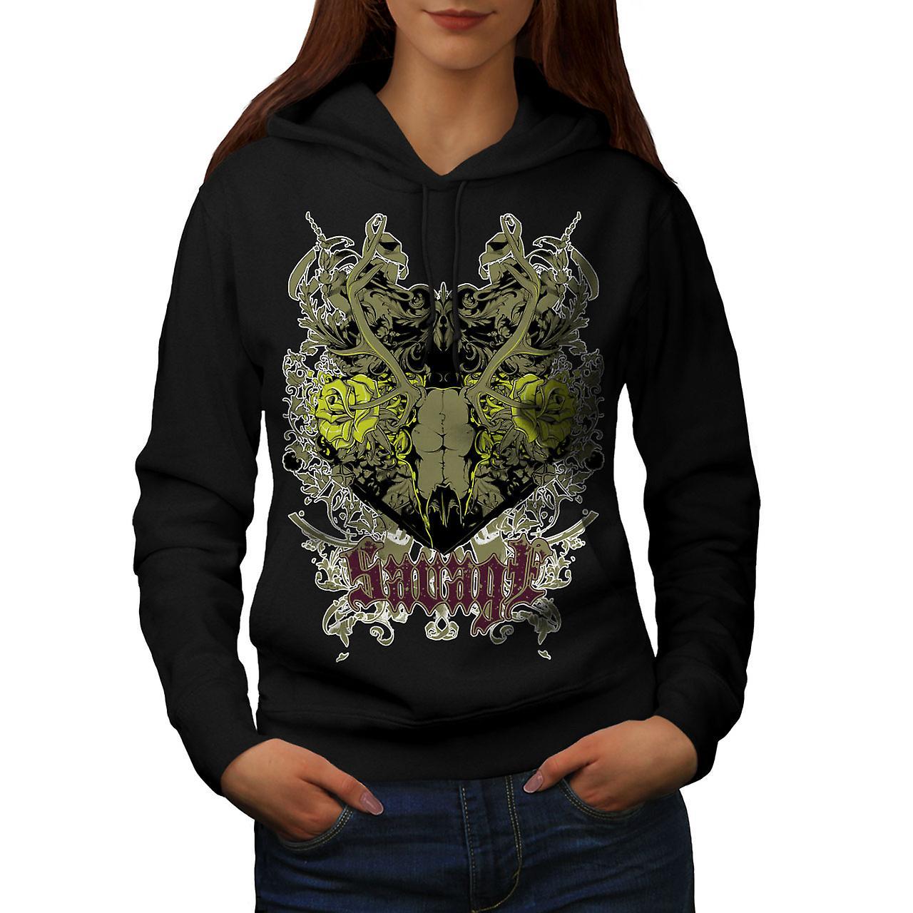 Savage Animal Rose Skull Women Black Hoodie | Wellcoda