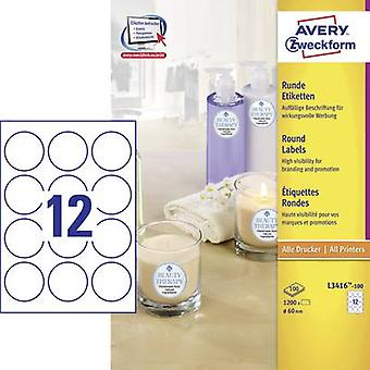 Avery-Zweckform L3416-100 Labels (A4) Ø 60 mm Paper White 1200 pc(s) Permanent All-purpose labels, Sticky dots Inkjet, L