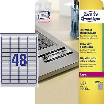 Avery-Zweckform L6009-20 Labels (A4) 45.7 x 21.2 mm Polyester fi