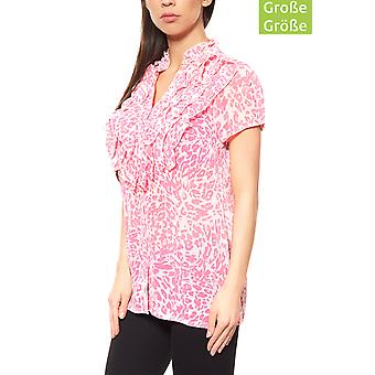 vivance collection ruffle blouse plus size Pink ladies