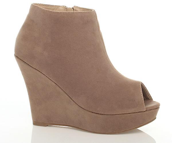 Ajvani womens platform wedge peep toe peep toe ankle shoes boots booties