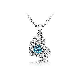 Reich verzierte Kristallblau Swarovski Herz Halskette