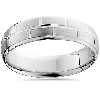 Mens Argentium Silver Comfort Fit Brushed Wedding Band