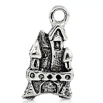 Packet 10 x Antique Silver Tibetan 21mm Fairy Castle Charm/Pendant ZX06305