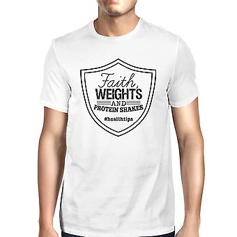 Faith Weights Mens White Unique Graphic T-Shirt Funny Work Out Gift