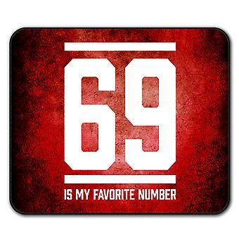 69 Favorite Number Funny  Non-Slip Mouse Mat Pad 24cm x 20cm | Wellcoda