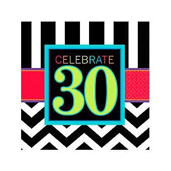 Tillykke med fødselsdagen Chevron Design 30 serviet