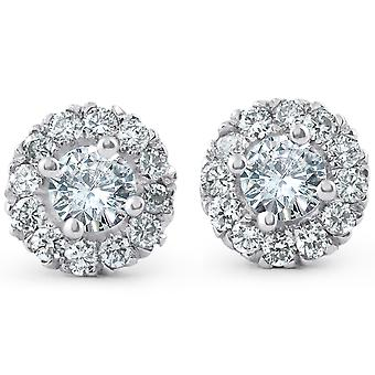 7/8ct Halo Diamond Studs 14k White Gold