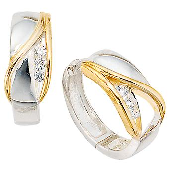Hoop earrings 925 /-s silver hoop earrings bicolor partly gold plated with Zircons