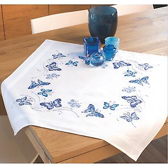 Blue Butterflies Tablecloth Stamped Embroidery Kit-32