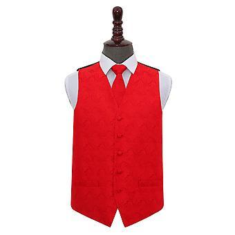 Gilet de mariage Paisley rouge & cravate ensemble