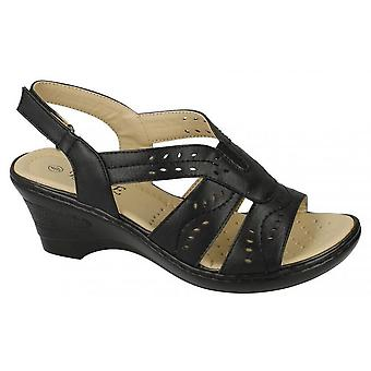 Eaze Womens/Ladies Cut Out Detail Sling back Sandals