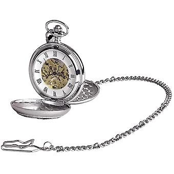 Woodford Fisherman Chrome Plated Double Full Hunter Skeleton Pocket Watch - Silver