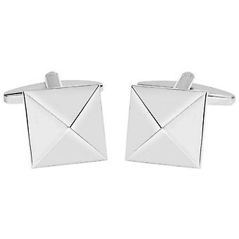 David Van Hagen Shiny Square Pyramid Design Cufflinks - Silver