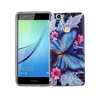 Handy Hülle für Huawei Nova Cover Case Schutz Tasche Motiv Slim Silikon TPU Blauer Schmetterling