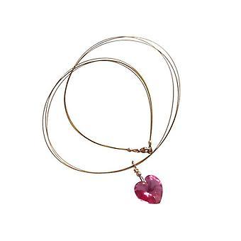Serce naszyjnik różowy TANN ARA z Crystal element-pozłacane