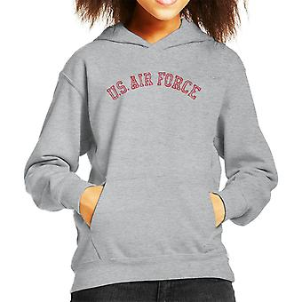 US Airforce Training Red Text Distressed Kid's Hooded Sweatshirt