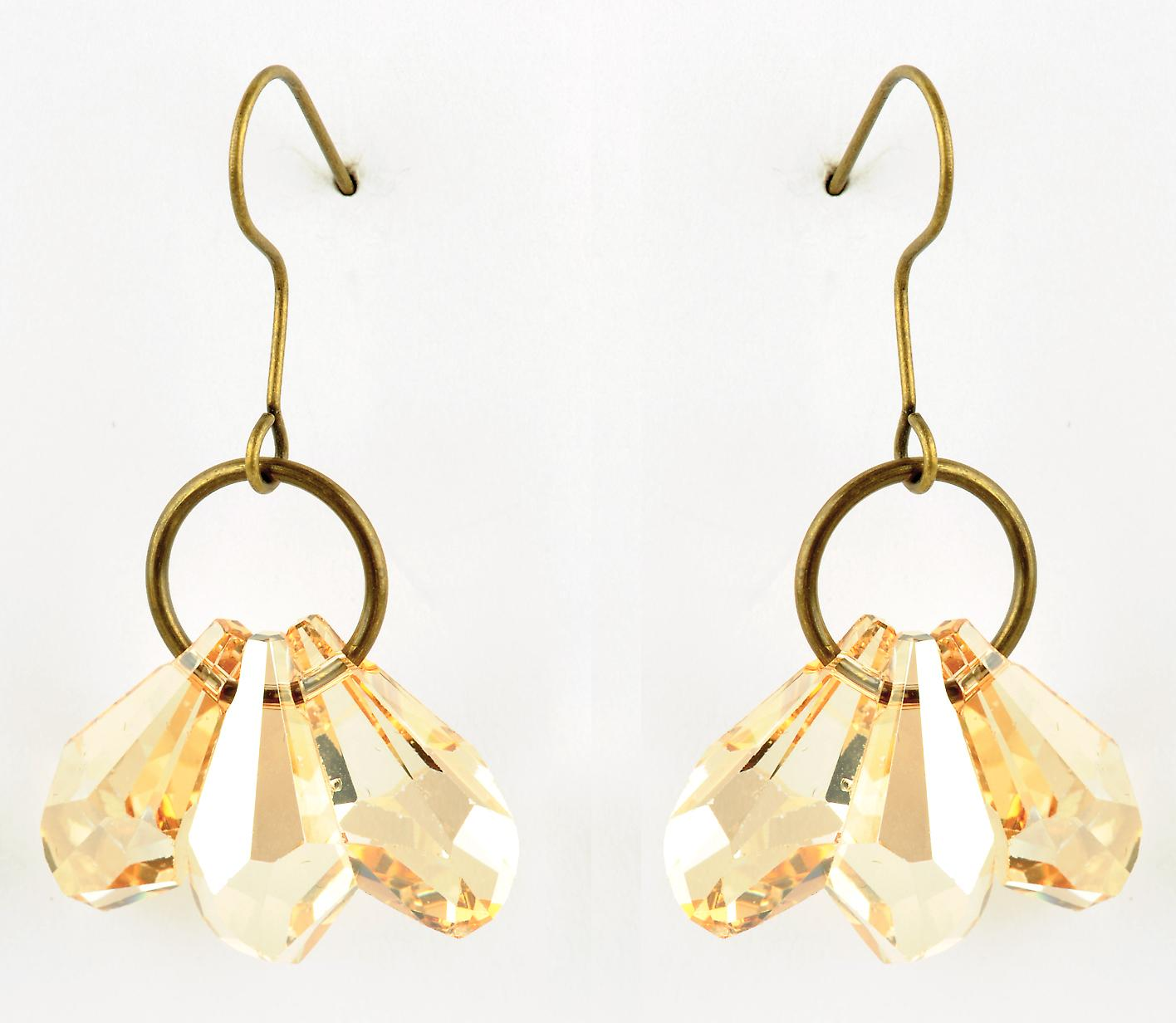 Waooh - jewelry - WJ0785 - earrings with Swarovski yellow - mount colour gold rhinestones