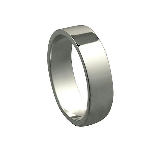 9ct White Gold 6mm plain Flat Wedding Ring