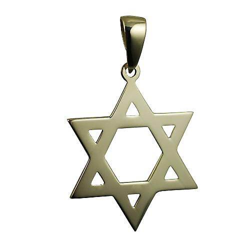 9ct Gold 31x27mm plain Star of David Pendant on a bail
