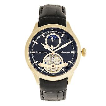 Heritor Automatic Gregory Semi-Skeleton Leather-Band Watch - Gold/Black