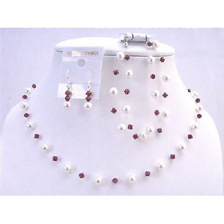 White Pearls Siam Red Crystals Prom Wedding Swarovski Jewelry Red Set