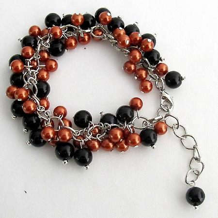 Halloween Style Bracelet Cluster Beaded Chunky Orange Black Pearls