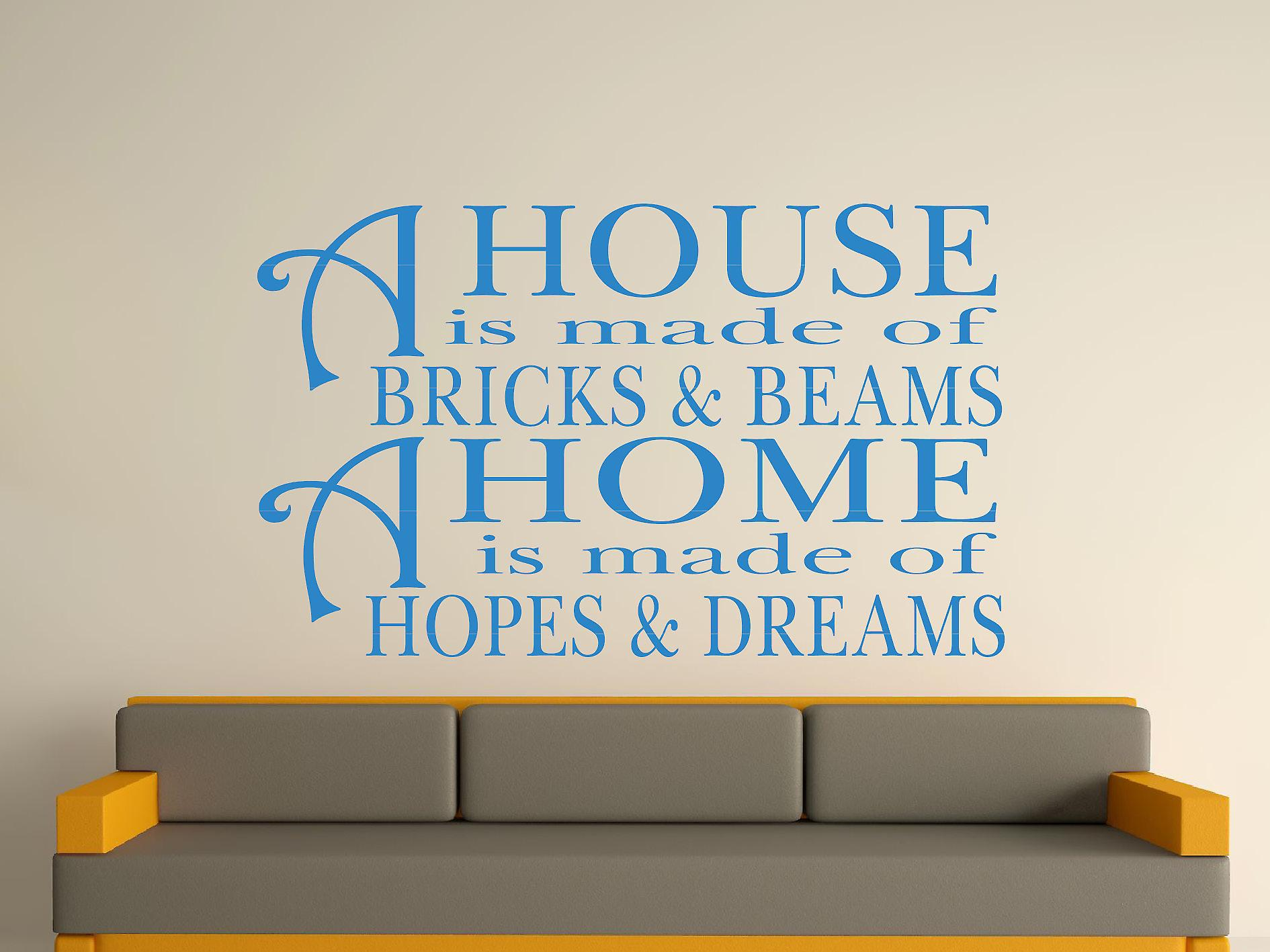 A House Is Made Of Bricks And Beams v2 Wall Art Sticker - Olympic Blue