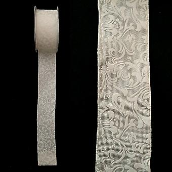 2M lång 4cm brett Hallmark närvarande Gift Wrap bröllop Craft Ribbon vita blommor (WSLRIB2M)