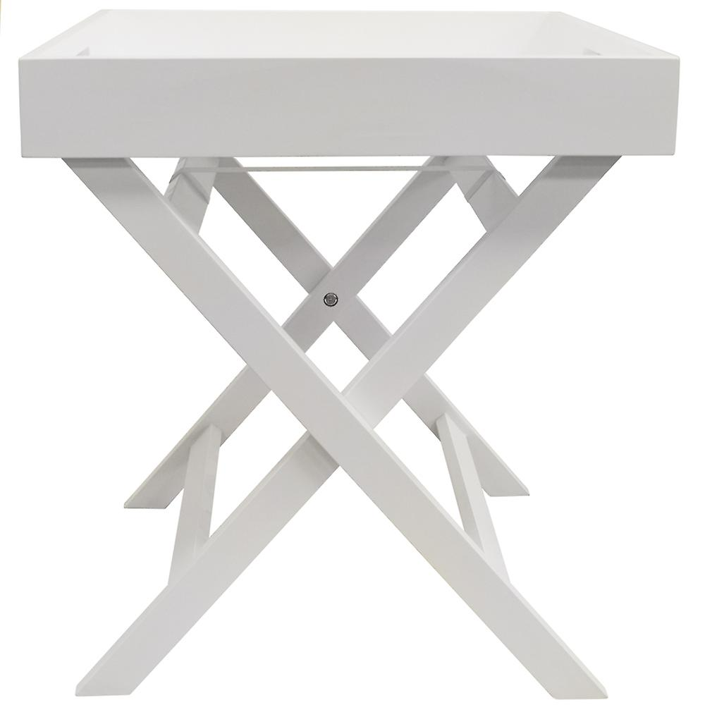 Fold - Wooden Folding Tray Top Side / End Table / Bedside / Laptop Snack Tray - White