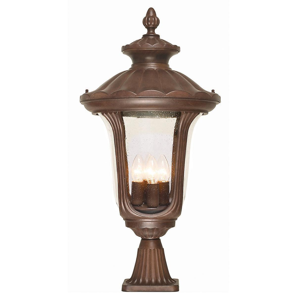 Elstead CC3/L Chicago Large Outdoor Pillar Pedestal Light with Textured Glass