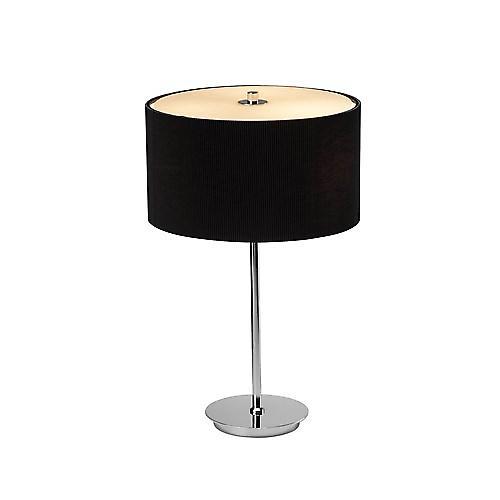 Dar ZAR4022 Zaragoza cromo Lampada da tavolo con paralume nero e vetro
